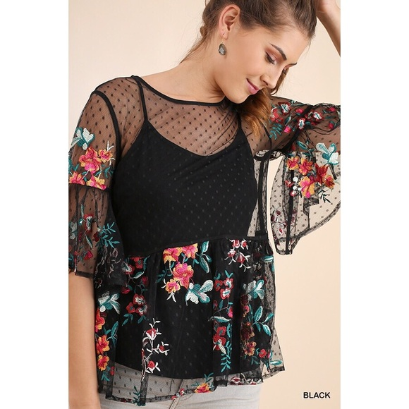 Tops - Sheer Black Mesh Babydoll Floral Embroidered Top